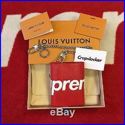 100% AUTHENTIC NEW Supreme x Louis Vuitton Chain Compact Wallet Red