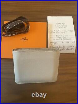 2020 Mens Hermes Citizen Twill Compact Wallet Gris Epsom Leather $860 MSRP