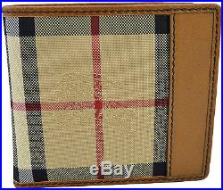$450 BURBERRY Brown Canvas Check Leather Mens Bifold Wallet NEW COLLECTION