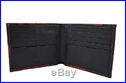 $590 PRADA Black Red SAFFIANO PRINT Leather Mens Bifold Wallet LIMITED EDITION
