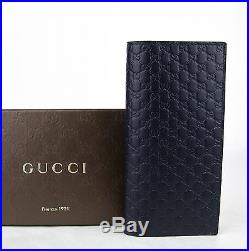 $625 Gucci Men's Blue Microguccissima Leather Wallet with ID window 449245 4009