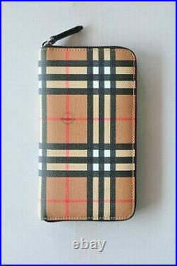 $950 Authentic BNWT BURBERRY Check & Leather Ziparound Travel Mens/Womens Wallet