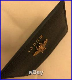 AUTHENTIC GUCCI GG CARD HOLDER BLACK BEE LEATHER MEN WALLET (Best Offer)