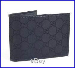 AUTHENTIC New Gucci GG Black Nylon Canvas and Leather Wallet. #143384, NWT