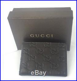 AUTHENTIC New Men's Gucci Brown GG Leather Small Wallet #233155, NWT