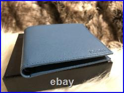 AUTHENTIC Prada Mens Bifold Wallet Cobalto Blue Saffiano Leather W Coin Pkt