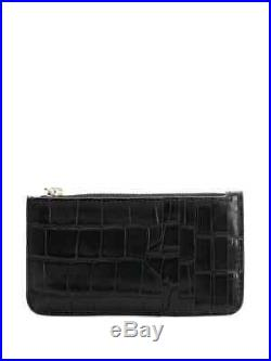 Alexander McQueen Crocodile Embossed Cardholder Zippered Wallet = Boxed! =
