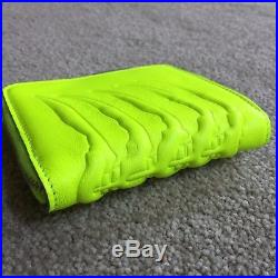 Alexander Mcqueen Fluorescent Yellow Leather Rib Cage Zip Wallet Coin Pouch