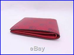 Auth Gucci GG Skull Logo Short Bifold Wallet Red/Black Leather e42481