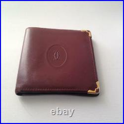 Authentic, Cartier Burgundy, Leather Bifold Mens Wallet 4in x 4in