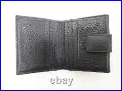 Authentic GUCCI Trifold Compact Wallet Sherry Black Men's
