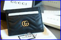 Authentic Gucci BLACK GG Marmont card case cardholder Leather Hibiscus Wallet