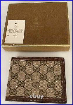 Authentic Gucci Men's GG Canvas & Leather Bifold Wallet
