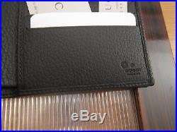 Authentic Gucci Men's Guccissima Black Leather Bifold Wallet New with Box