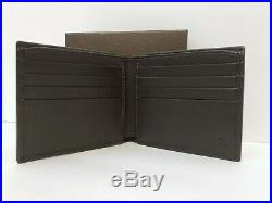 Authentic Gucci Mens Bifold Leather Wallet Guccissima Like New Brown