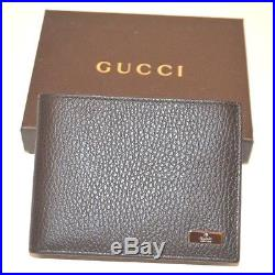 Authentic Gucci tri-fold Men's leather wallet w ID holder in dark brown 217042