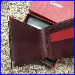Authentic Men's Cartier Black Leather Steel Wallet 6 Credit Card NEW IN BOX