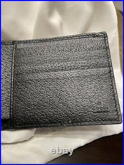 Authentic Men's Gucci Black Leather Brass Marmont Bifold Double G GG Wallet