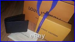 Authentic New LOUIS VUITTON Multiple Wallet Black Soft Leather Made in France