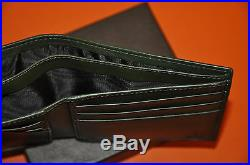 Authentic New Men's Gucci Green Diamond Leather Bifold Wallet
