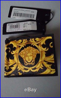 Authentic Nwt Versace Leather Medusa Mens Wallet/card Holder/money Clip