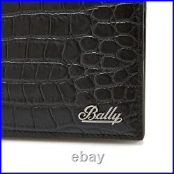 BALLY Black Calf Leather Wallet Mens Bifold BRASAI MS 20 Womens Gift Authentic