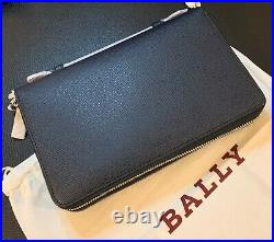 BALLY Mens Navy Blue Bovine Embossed Magus Double Zip Travel Clutch Wallet NWT