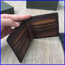 BERLUTI Makore Leather Compact Wallet BROWN COLOR