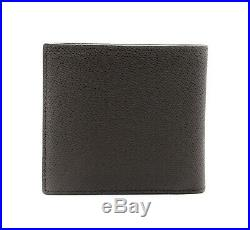 Bally Trasai Mens Coffee Brown Embossed Bovine Leather Wallet Made in Italy NIB