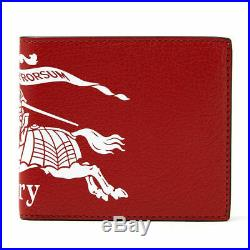 Brand New Men's Burberry Billfold Crest Print Red Leather Double Sided Wallet