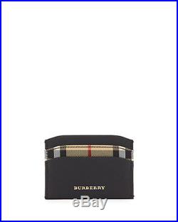 Brand New Men's Burberry Horseferry Check Izzy Black Leather Card Case Wallet