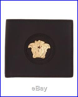 Brand New Men's Versace Gold Medusa Circle Black Leather Bifold Wallet