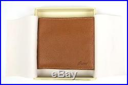 Brioni $475 NWT Cognac Brown Embossed Grained Leather Bifold Wallet Card Holder