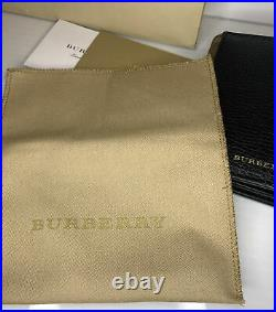 Burberry Authentic Mens Card Wallet Black Leather/Plaid With Tags & Bag