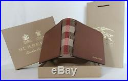 Burberry Bifold Wallet 100% Authentic Grainy Leather And House Check Men's Brown