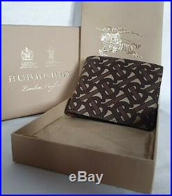Burberry Bifold Wallet 100% Authentic Leather Men Monogrammed Brown RRP 350$