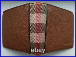 Burberry Bifold Wallet 100% Genuine Grainy Leather And House Check Men's Brown
