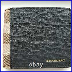 Burberry Bifold Wallet Grainy Leather And House Check Men's Black 100% Authentic