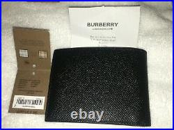 Burberry Black Grainy Leather Bifold Wallet Men's Tags & Receipt Included
