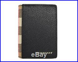 Burberry Flint Card Holder House Check Black Leather New