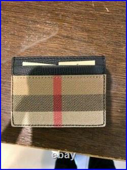 Burberry House Check & Leather Money Card Case Black WALLET Mens Men New