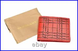 Burberry Men's Red Checkered Perforated Leather Bifold Wallet