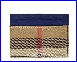 Burberry Sandon Check Card Case Blue Leather New