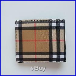 Burberry Tartan Check Canvas and Leather Men's Bi-Fold ID Wallet Beige $330