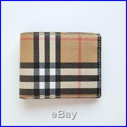 Burberry Tartan Check Canvas and Leather Men's Bi-Fold Slim Wallet Beige $330
