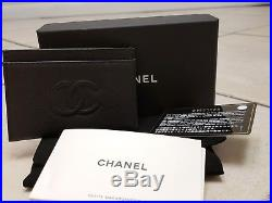 Chanel Pocket Card Case Holder Wallet Purse New Current Box Black Caviar Leather