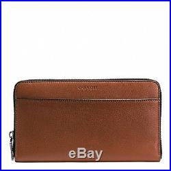 Coach Men's Travel Wallet In Calf Leather F93482 Saddle +57337B Card Case
