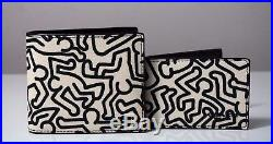 Coach Mens Keith Haring Black/Chalk Leather 3 in 1 Wallet F87100