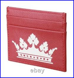 DOLCE & GABBANA Wallet Leather Red DG Logo Printed Mens Card Holder RRP $250