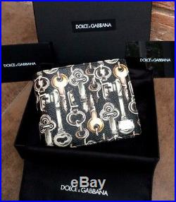 Dolce & Gabbana Castle Key Print Saffiano Leather Bifold Wallet With Coin Pouch